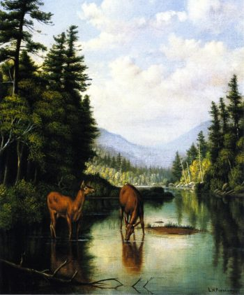 Deer in Mountain Brook | Levi Wells Prentice | oil painting