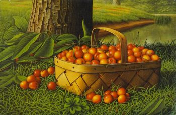 Cherries in a Basket | Levi Wells Prentice | oil painting