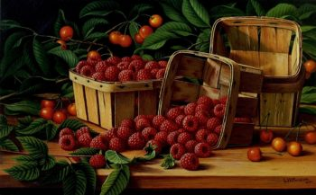 Cherries and Raspberries in a Basket | Levi Wells Prentice | oil painting