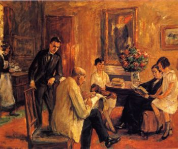 The Artist Sketching in the Circle of His Family | Max Liebermann | oil painting