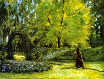 The Circular Bed in the Hedge Garden with a Woman Watering flowers | Max Liebermann | oil painting