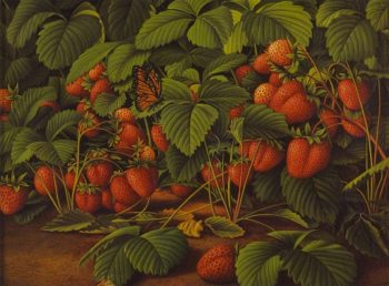 Bed of Strawberries with Monarch Butterfly | Levi Wells Prentice | oil painting