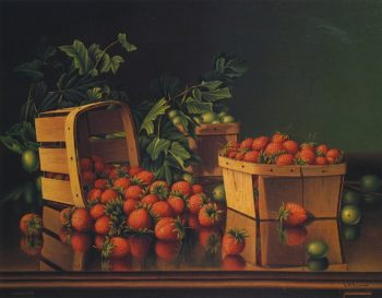 Baskets of Strawberries and Gooseberries on a Ledge | Levi Wells Prentice | oil painting