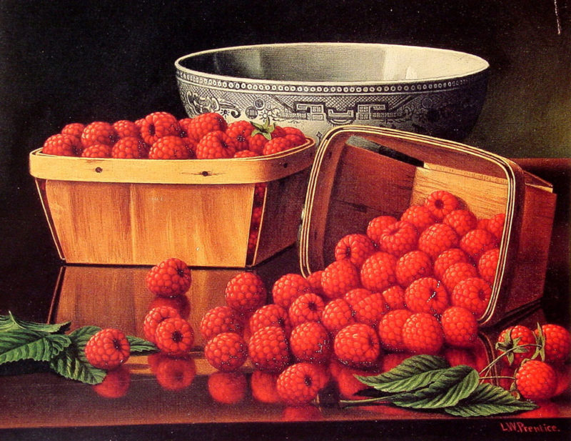 Baskets of Raspberries | Levi Wells Prentice | oil painting