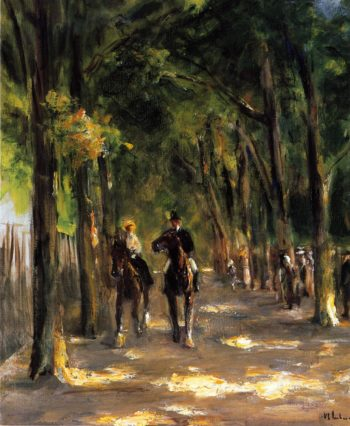 Tree Lined Avenue with Two Horseback Riders | Max Liebermann | oil painting