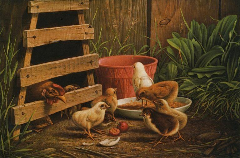 Barnyard Scene | Levi Wells Prentice | oil painting
