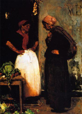 Vegetable Vendor Market Scene | Max Liebermann | oil painting