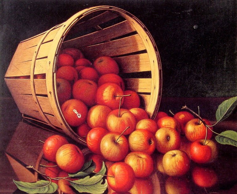 Apples Tumbling from a Basket | Levi Wells Prentice | oil painting