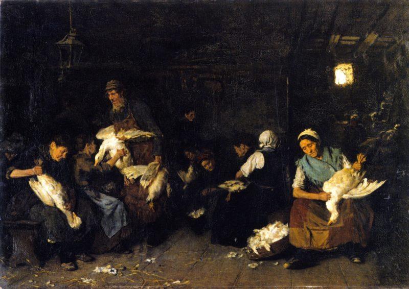Woman Plucking Geese   Max Liebermann   oil painting