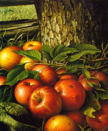Apples and Tree Trunk | Levi Wells Prentice | oil painting