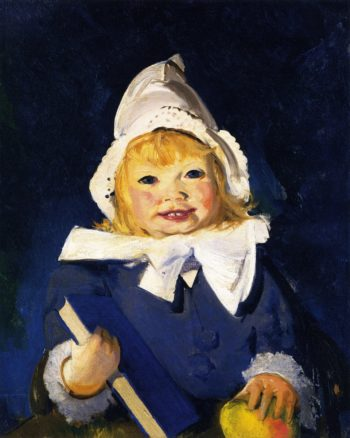 Jean with Blue Book and Apple   George Wesley Bellows   oil painting
