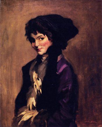 Yolande in Gray Tippet | John Sloan | oil painting