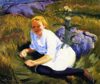 Child and Thistle in Sun | John Sloan | oil painting