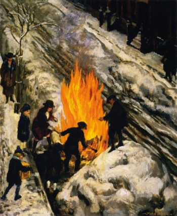 Bonfire in Snow | John Sloan | oil painting