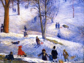 Sledding Central Park | William James Glackens | oil painting