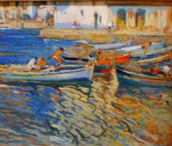 Marina con pescadores | Eliseo Meifren i Roig | oil painting