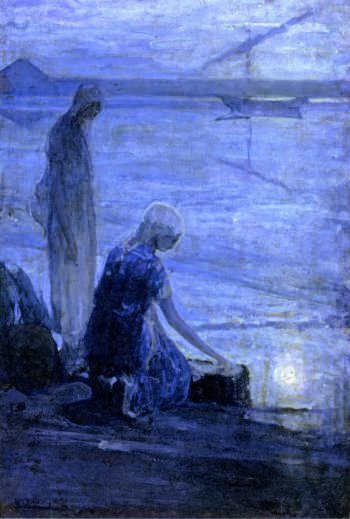 Moses in the Bullrushes | Henry Ossawa Tanner | oil painting
