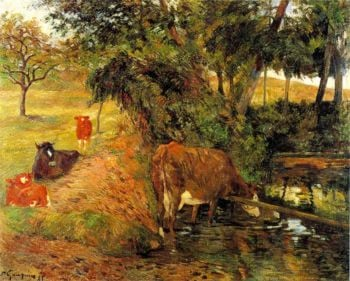 Landscape with Cows in an Orchard | Henry Ossawa Tanner | oil painting