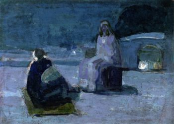 Study for Christ and Nicodemus on a Rooftop | Henry Ossawa Tanner | oil painting