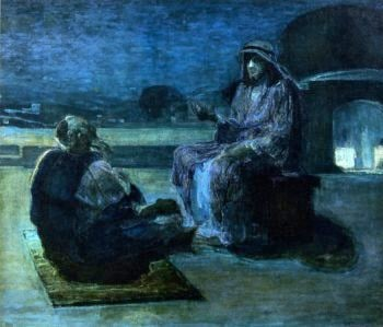 Christ and Nicodemus on a Rooftop | Henry Ossawa Tanner | oil painting