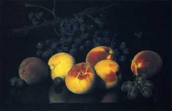 Still LIfe with Peaches and Grapes | Joseph Decker | oil painting