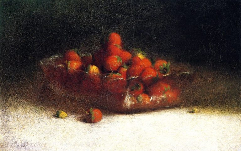 Strawberries in a Clear Bowl | Joseph Decker | oil painting