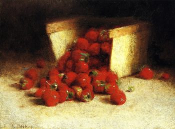 Strawberries Spilling Out of a Box | Joseph Decker | oil painting