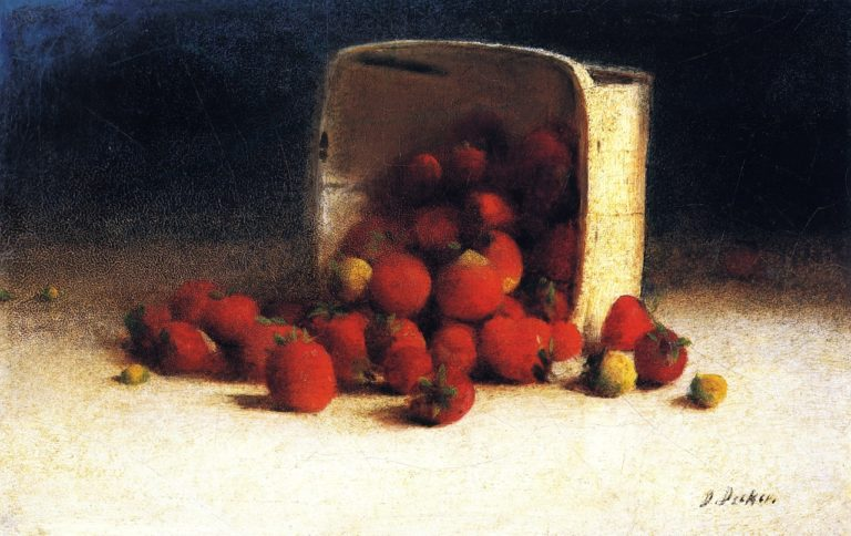 Strawberries Spilling Out of an Overturned Box   Joseph Decker   oil painting