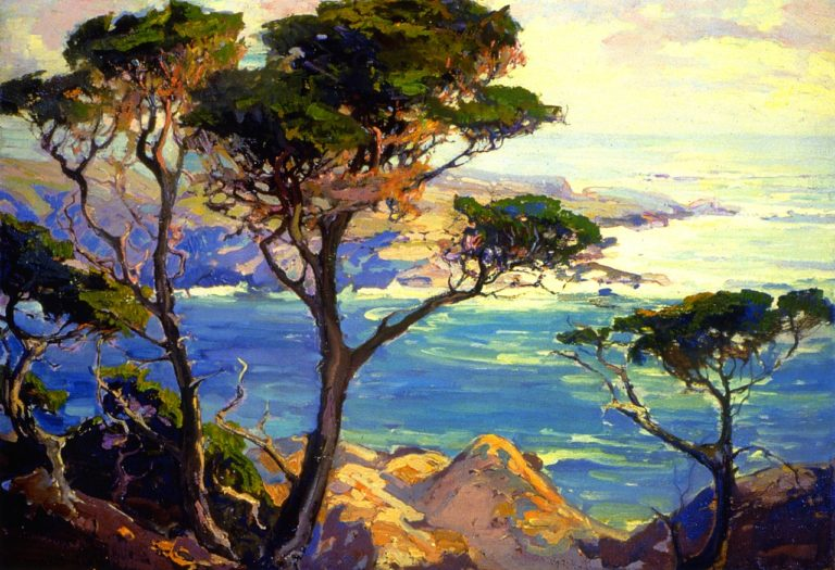 A Lonely Headland Point Lobos   Franz Bischoff   oil painting
