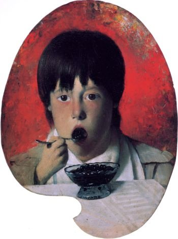 Boy Eating Berries | Joseph Decker | oil painting