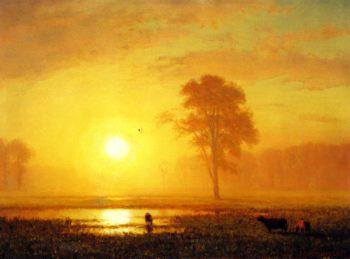 Sunset on the Plains | Albert Bierstadt | oil painting