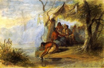 Visit to an Indian Camp on the Border of a Lake | Alfred Jacob Miller | oil painting