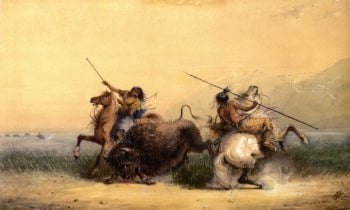 Two Indians Killing a Buffalo | Alfred Jacob Miller | oil painting