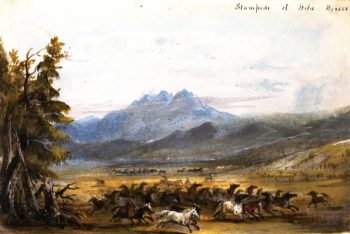 Stampede of Wild Horses | Alfred Jacob Miller | oil painting