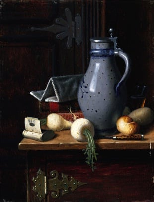 Still Life with Turnips and Beer Stein | David Gilmore Blythe | oil painting