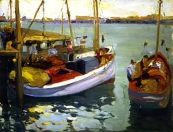 Fishing Boats L A Harbor | Franz Bischoff | oil painting