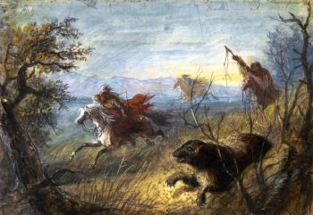 Grizzly Bear Hunt | Alfred Jacob Miller | oil painting