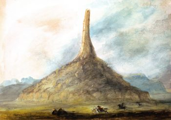 Chimney Rock near Scotts Bluff | Alfred Jacob Miller | oil painting