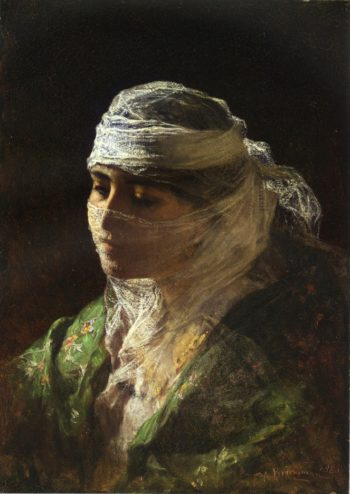 A Veiled Beauty of Constantinople | Frederick Arthur Bridgman | oil painting
