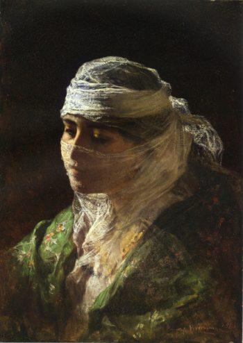 A Veiled Beauty of Constantinople | Frederick Arthur Bridgman | oil painting