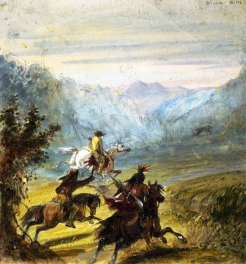 Chase of the Grizzly Bear Black Hills | Alfred Jacob Miller | oil painting