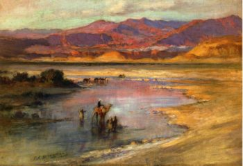 Crossing an Oasis with the Atlas Mountains in the Distance Morocco | Frederick Arthur Bridgman | oil painting