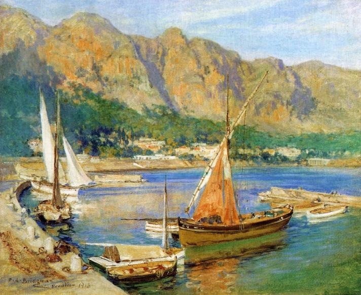 Sailboats South of France   Frederick Arthur Bridgman   oil painting