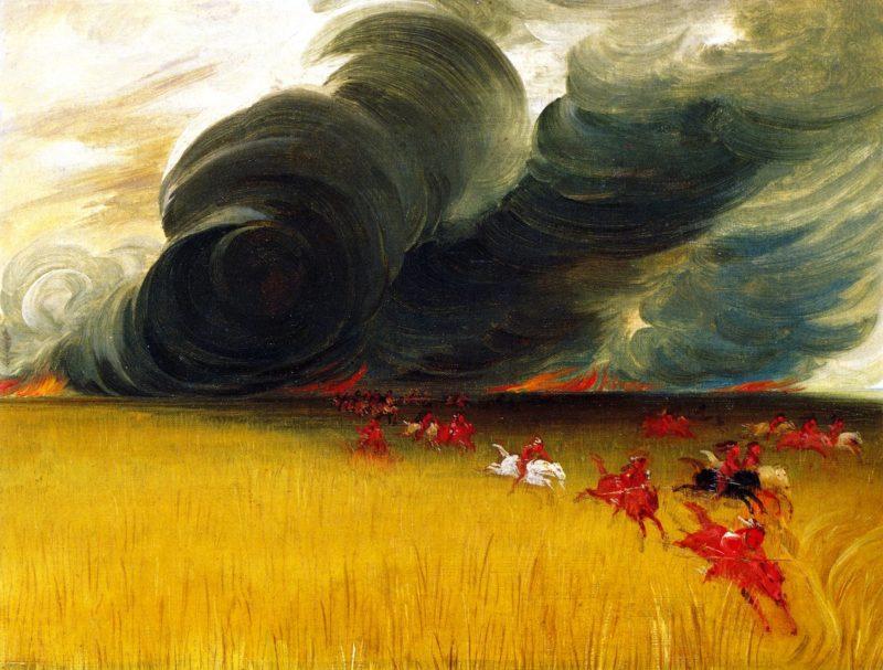 Prairie Meadows Burning   George Catlin   oil painting