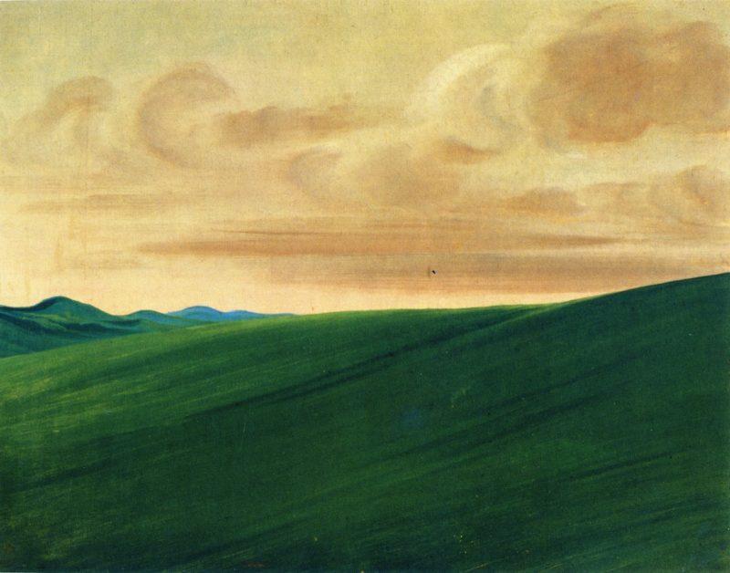 Nishnabottana Bluffs Upper Missouri   George Catlin   oil painting