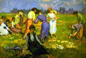 Picking Poppies Pasadena | Franz Bischoff | oil painting