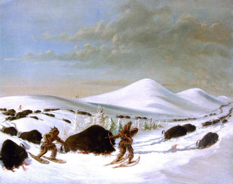 Buffalo Hunt in Winter | George Catlin | oil painting