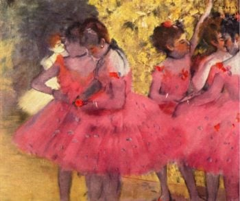 Dancers in Pink Between the Scenes | Edgar Degas | oil painting