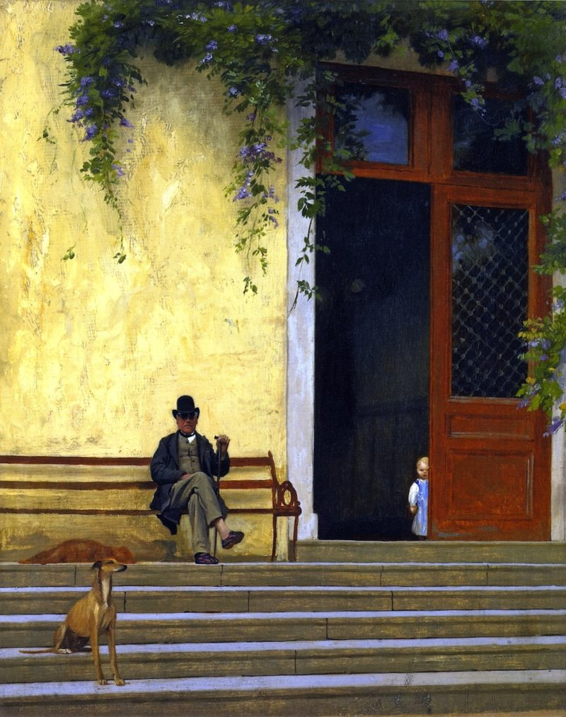 The Artists Father and Son on the Doorstep of His House   Jean Leon Gerome   oil painting