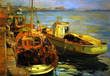 San Pedro Fishing Boats | Franz Bischoff | oil painting